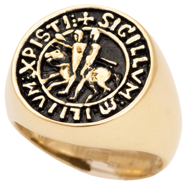 Seal of The Knights Templar Signet Ring in Bronze Sigillum Militum Xpisti