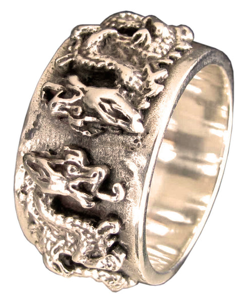 Twin Dragon Ring Medieval Coat of Arms in Bronze  - Size 16
