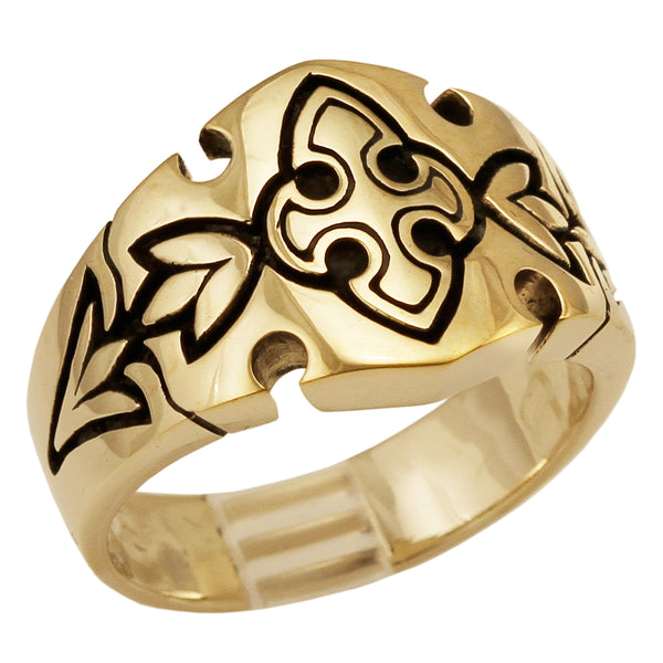 Medieval Knights Templar Fleur-de-Lis Cross Ring in Bronze Royal Coat of Arms