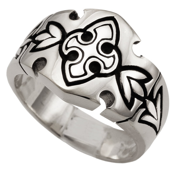 Medieval Knights Templar Fleur-de-Lis Cross Ring in Sterling Silver Royal Coat of Arms