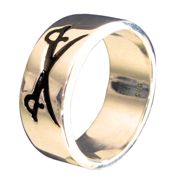 Crossed Swords Pirate Ring in Bronze with Black Enamel