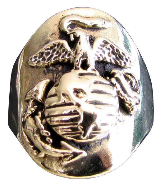 Navy Seal Ring US Marine Corps Crest in Bronze - Size 16
