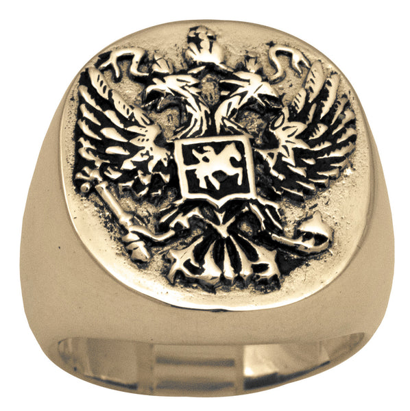 Russia Coat of Arms Ring in Bronze Double-Headed Eagle Symbol of Byzantine Empire