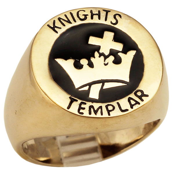 Medieval Knights Templar Cross and Crown Ring Masonic Coat of Arms in Bronze