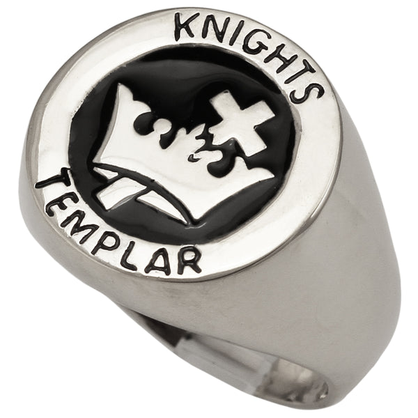Medieval Knights Templar Cross and Crown Ring Masonic Coat of Arms in Sterling Silver