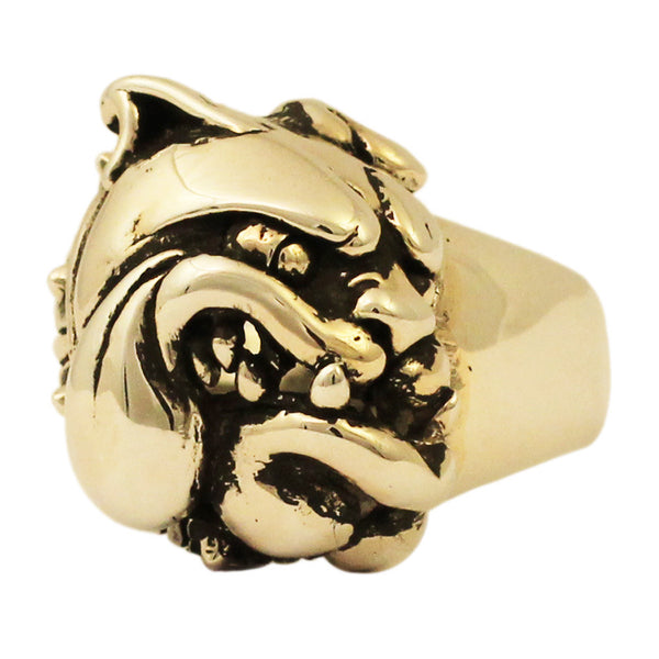 Bronze Pitbull Ring - Angry Bulldog with Spike Collar