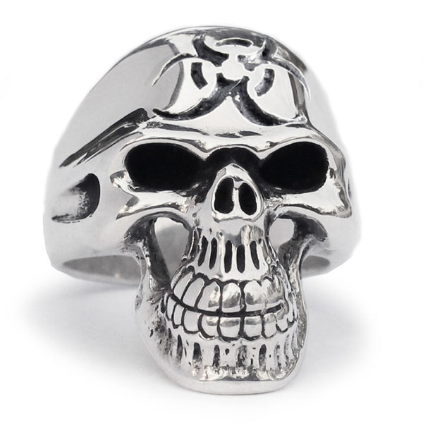 Bio-Hazard Aftermath Skull Ring Toxic Waste Symbol in Sterling Silver 925