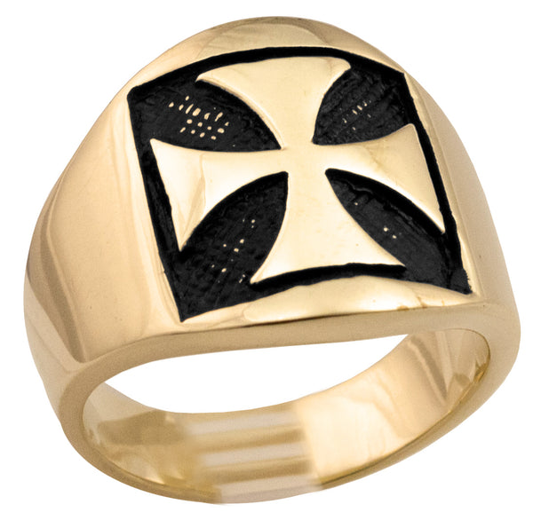 Bronze Iron Cross Chopper MC Crest Medieval Templar Ring
