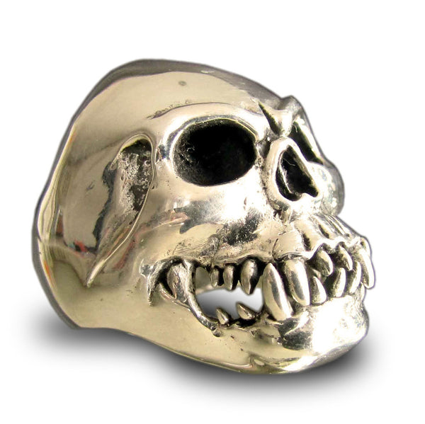Undead Zombie Skull Ring in Bronze