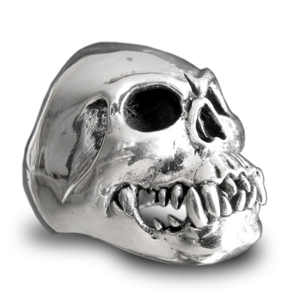 Undead Zombie Skull Ring in Sterling Silver 925