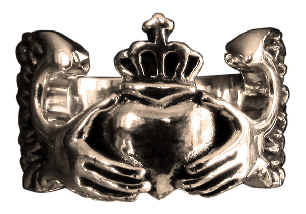 Claddagh Irish Heart Ring Crown and Winged Heart in Bronze - Size 16