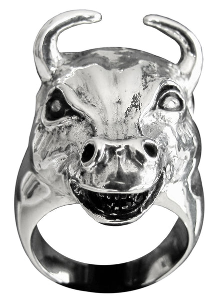Bullfighter Ring Carved Head of a Bull in Sterling Silver 925