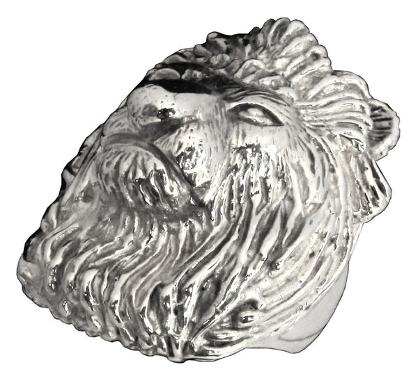 Sterling Silver 925 Large Head of a Lion Ring Detailed Animal Sculpture - King of the Jungle