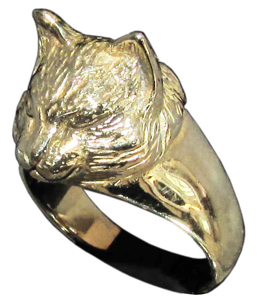 Sculpted Cat Ring Feline in Bronze - Size 16