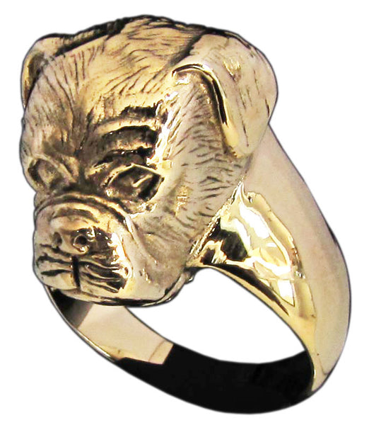Sculpted Boxer Dog Ring in Bronze - Size 16