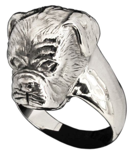 Sculpted Boxer Dog Ring in Sterling Silver 925