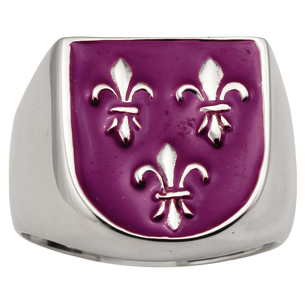 3 Fleur De Lis Ring Royal Coat of Arms in Sterling Silver 925 with Purple Enamel