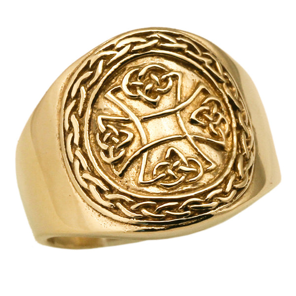 Celtic Knot Iron Cross Ring in Bronze