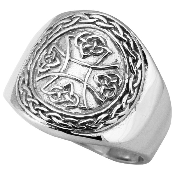 Celtic Knot Iron Cross Ring in Sterling Silver 925