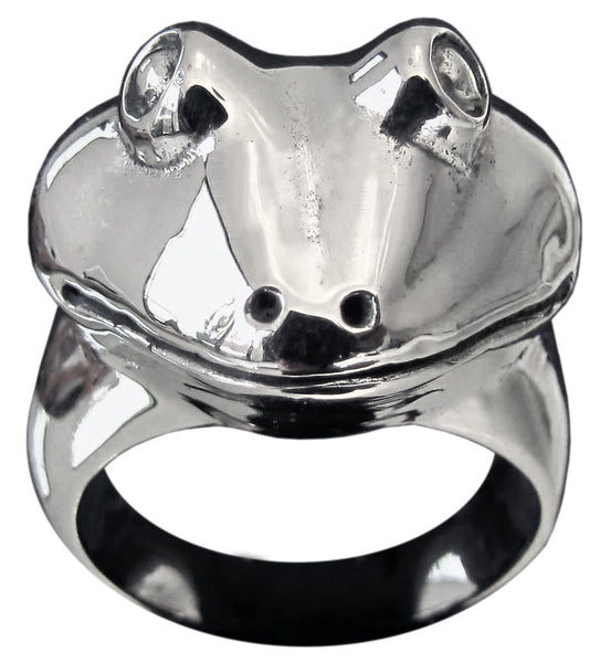 Sculpted Head of a Frog Ring in Sterling Silver 925