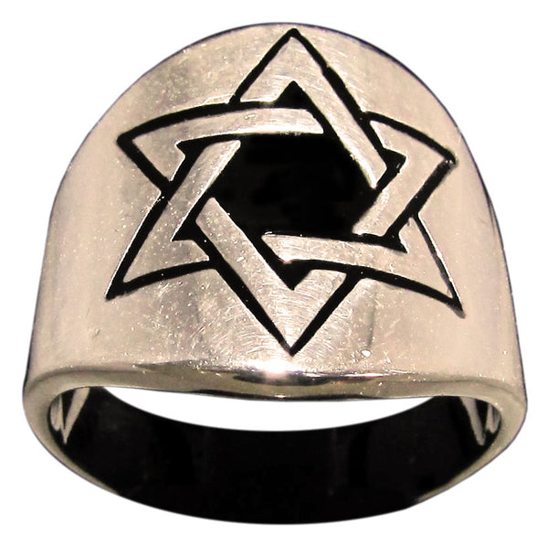 Woven Hexagram Ring Star of David in Bronze - Size 16