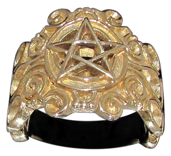 Detailed Celtic Pentagram Ring Carved Pentacle in Bronze - Size 16