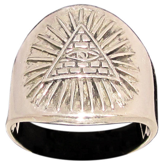 Masonic All Seeing Eye Pyramid Ring Illuminati Symbol in Bronze - Size 16