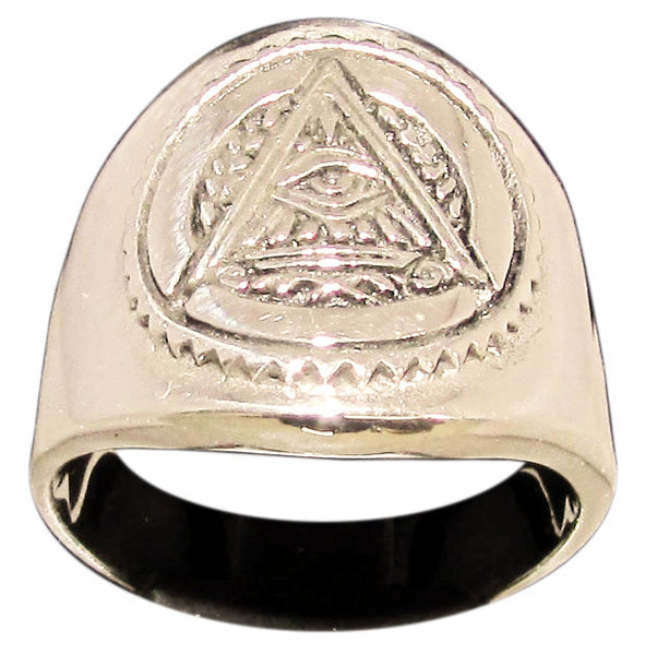 Masonic All Seeing Eye Pyramid Ring Illuminati Freemason Symbol in Bronze - Size 16