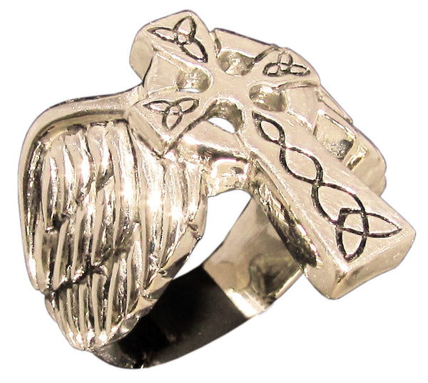 Angelic Winged Cross Ring with Celtic Pattern Runes in Bronze - Size 16