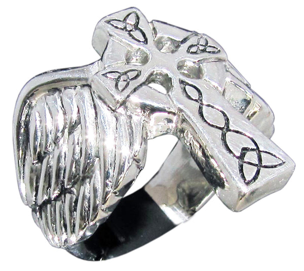 Angelic Winged Cross Ring with Celtic Pattern Runes in Sterling Silver 925