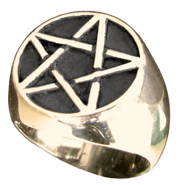 Bronze Pentacle Ring Celtic Pentagram Overlapping Lines Symbol Wiccan Jewelry