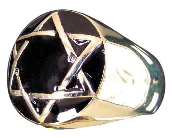 Star of David Ring Hexagram in Bronze (Dome)