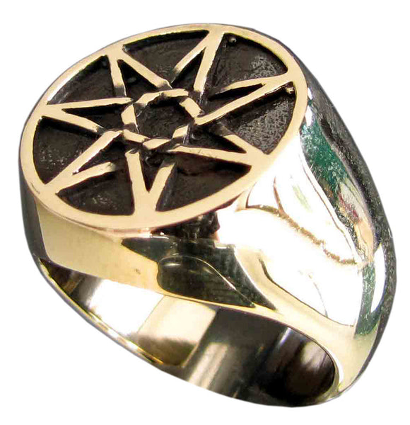 Bronze Celtic Heptagram Ring 7 Point Star Heptagon Flat