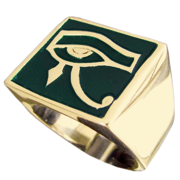 Egyptian Eye of Horus Ring Udjat Eye of Ra In Bronze with Green Enamel