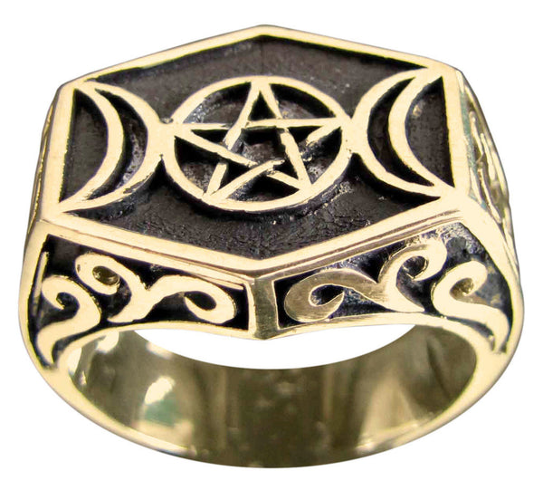 Bronze Triple Goddess Pentacle Ring - Crescent Moon and Pentagram