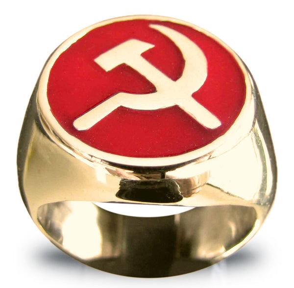 Bronze Hammer and Sickle CCCP Communist USSR Ring in Red Enamel