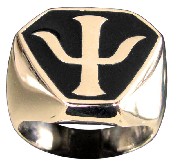 Bronze Babylon 5 Ring PSY Corps Crest with Black Enamel