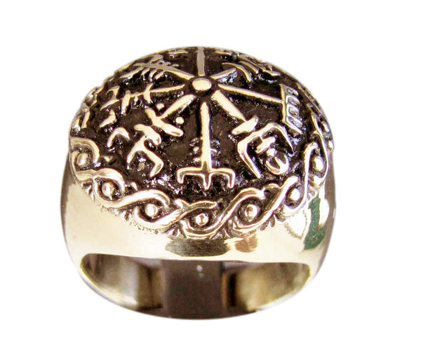 The Vegvisir, or Runic Compass Ring Viking Compass in Bronze