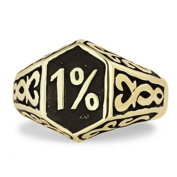 Bronze 1% Outlaw Biker Ring 1er, 1 percent w Celtic Design