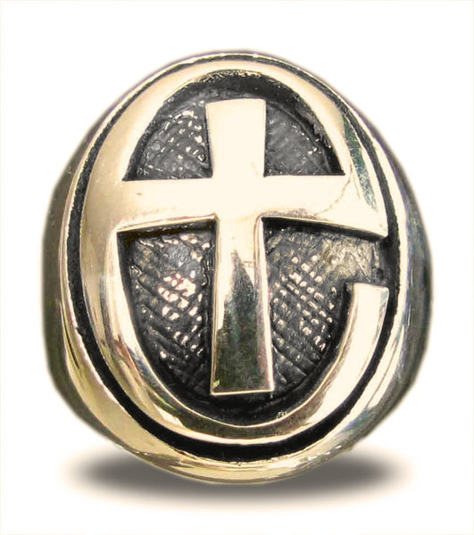 Anglican Cross Jesus Loves You Ring in Bronze
