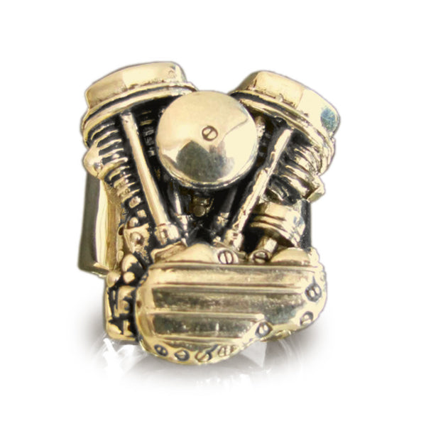 Bronze HARLEY DAVIDSON RING Panhead Engine Biker Ring Twin Head Mc