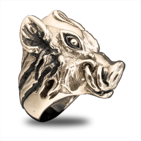 Wild Boar Ring Pumba Warthog in Bronze