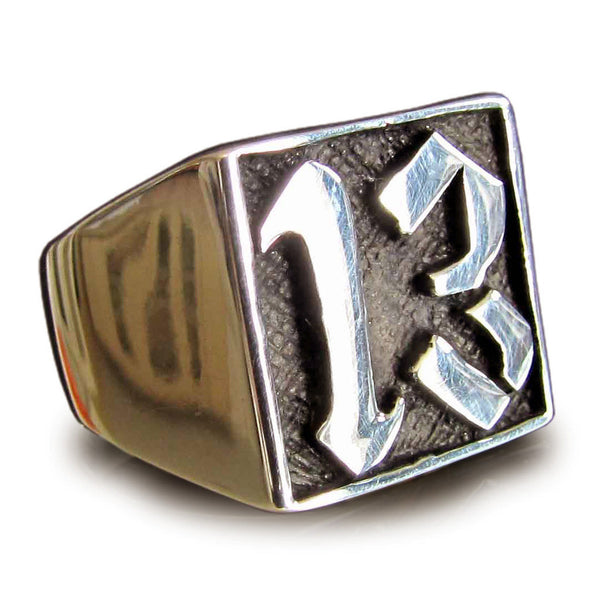 Lucky Number 13 Ring Block Letter in Bronze