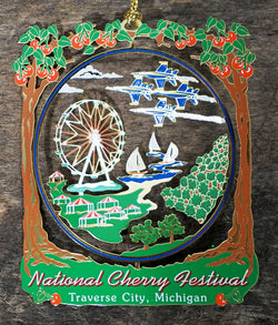 Cherry Festival 3D Brass Ornament