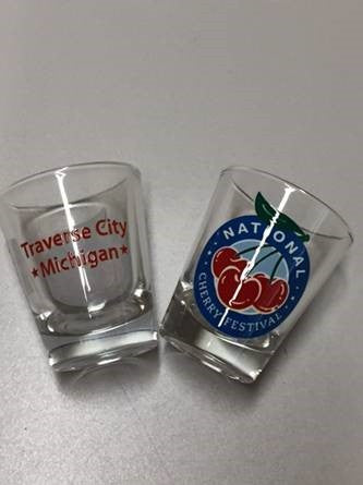 National Cherry Festival Logo Shot Glass