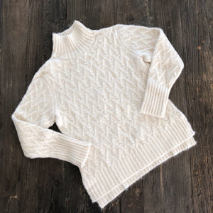 Lattice Cable Mock Turtleneck Sweater