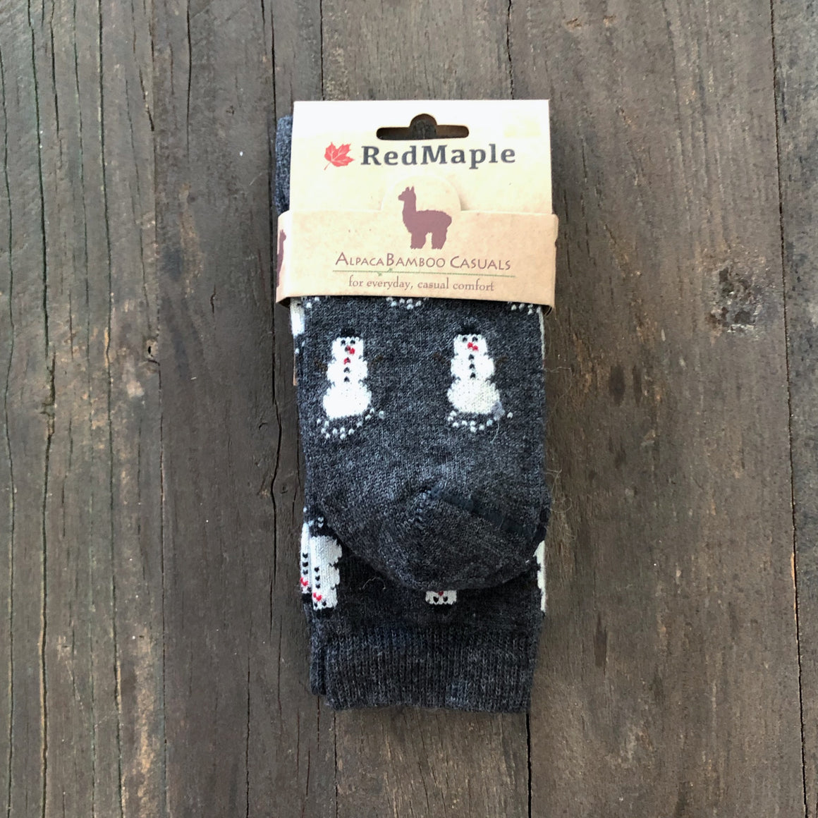 Alpaca/ Bamboo Blend Dress Socks- SNOWMAN