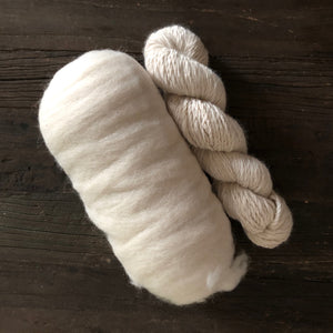 100% Alpaca Fiber Roving- Accoyo Blend- White