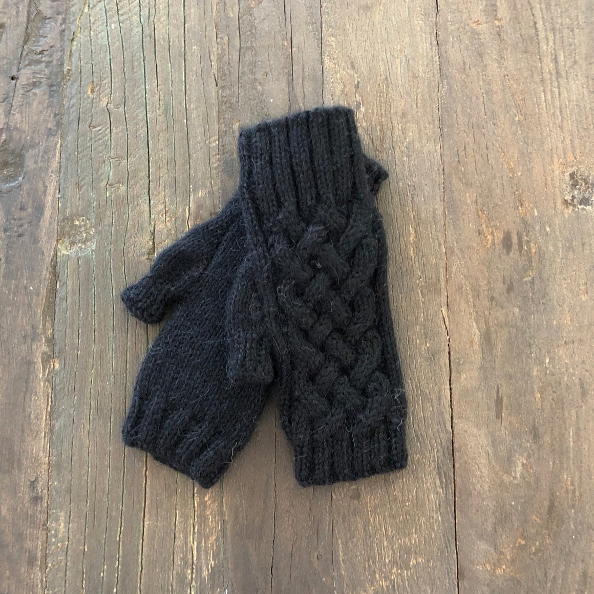 Shadow Cable Fingerless Gloves- 100% Alpaca