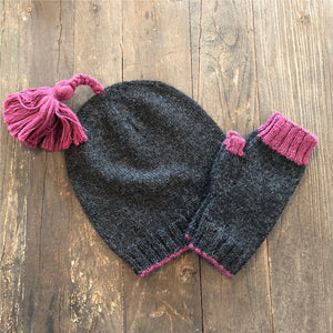 Striped Tassel Set- Hat/Fingerless Gloves
